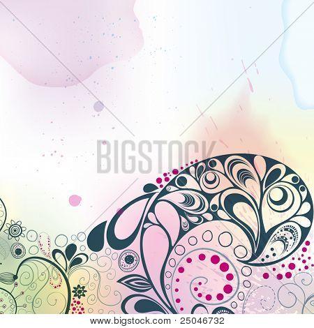 farbigen Hintergrund Aquarelle und Hand gezeichnet floral dekorative Elemente. Vektor-Inkjet