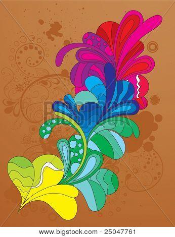 Hand drawn colorful design element. Vector illustration. CMYK gamut.