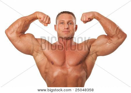 Male Body Builder Demonstrating Pose, Isolated