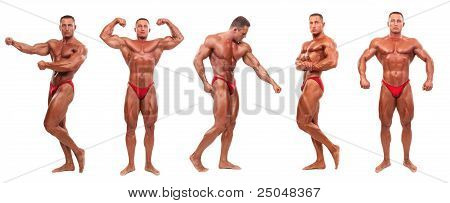 Male Body Builder Demonstrating Five Poses - Isolated