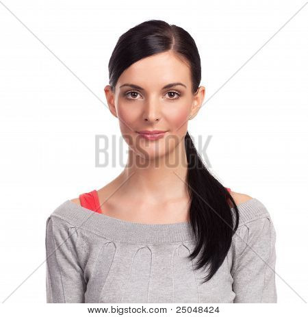 Young Woman On White Background