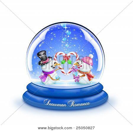 Schneemann Zuckerstange romanische Schneekugel