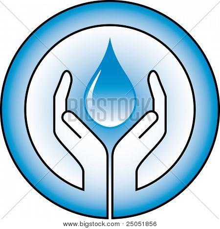 water-drop en handen
