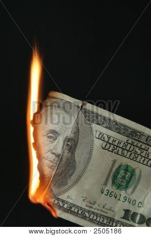 Dollars Bill On Fire
