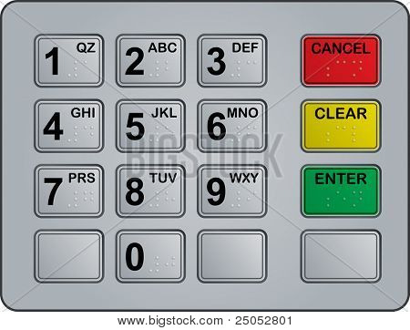 keypad of an automated teller machine
