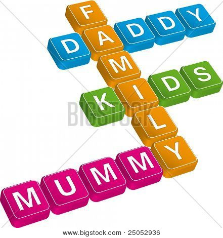 family crossword (editable vector)