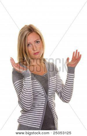 unsuspecting woman shrugs