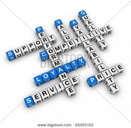fidelização de clientes (série de palavras cruzadas de cubos de azul e branco)
