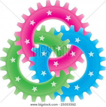 Tree colored gears isolated on white (settings or amalgamation icon)