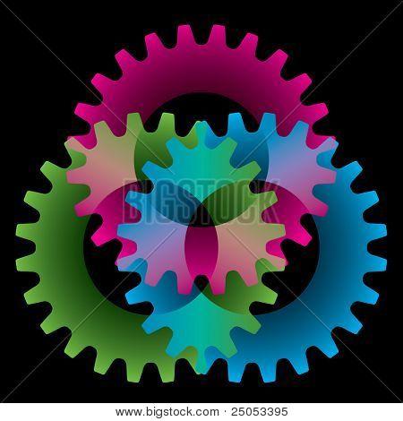 Baum farbig Getriebe, isoliert auf schwarz (Einstellungen oder Verschmelzung Symbol)