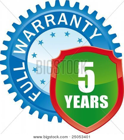 5 Year Full Warranty Glossy Icon