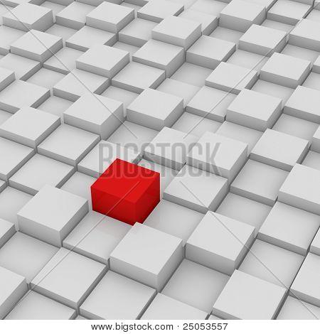 Rote anderen Cube weißen Hintergrund