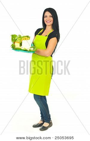 Full Length Of Cheesemaker Holding Cheese