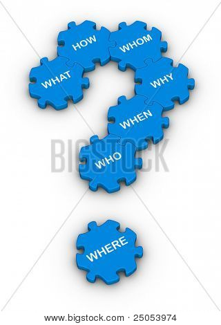 blue jigsaw puzzles question mark with question words