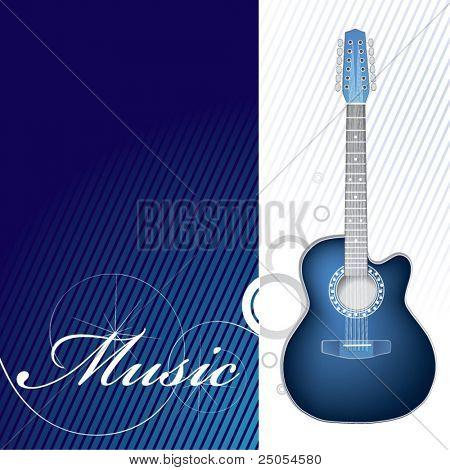 Guitarra nele é branca um fundo azul escuro