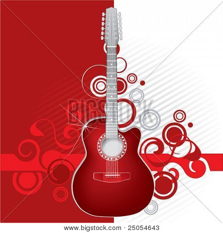Guitar on a red abstract background