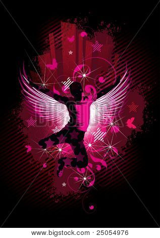 Silhouette of the person with wings on an abstract background