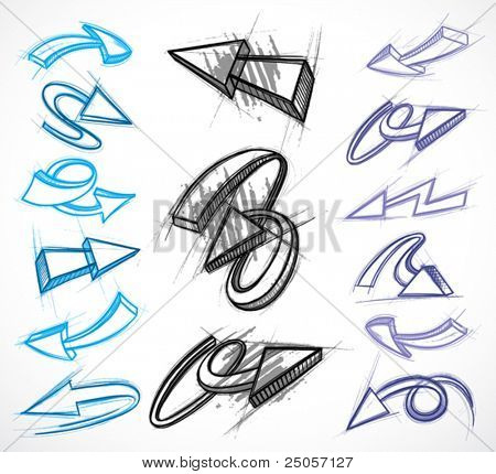 Collection of hand drawn arrows. Vector illustrations