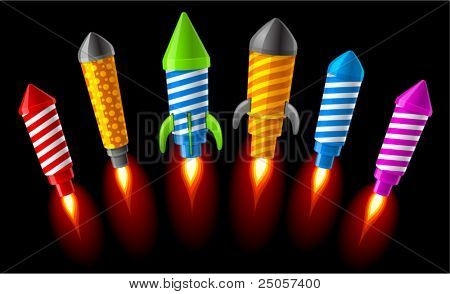 Vector illustration of rockets.Fireworks