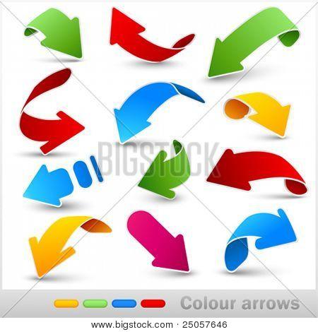 Coleção de setas de cor