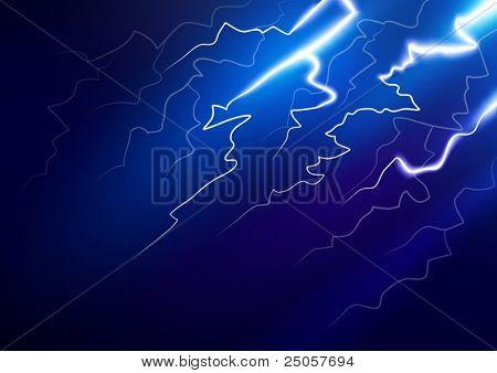 Lightning in the night sky. Vector illustration