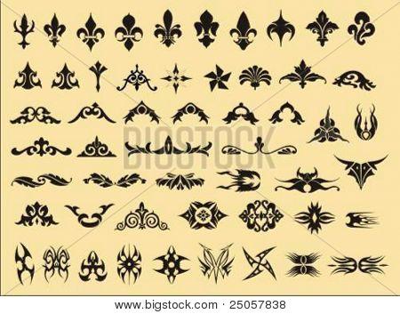 conjunto de vários símbolos de vetor