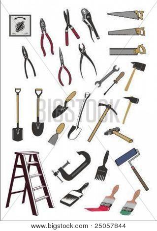 conjunto de varias herramientas de vector