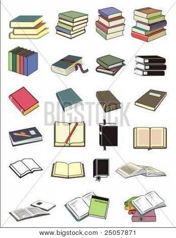 Ilustración de vector de varios libros en diferentes posiciones
