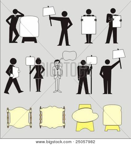 pictograms of people holding blank boards. Place your text on the boards