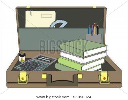 stylish open briefcase - vector illustration