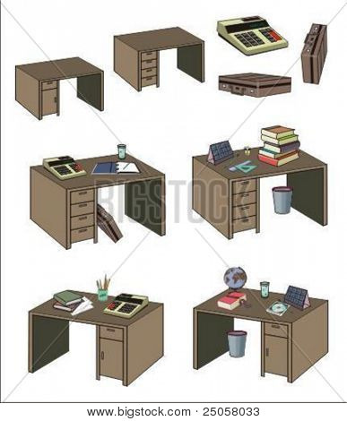 Stylish office desks, some of them equipped - vector