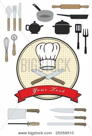 Chef hat and utensils, vector collection