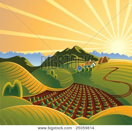 Summer solar rural landscape with a sunset and mountains