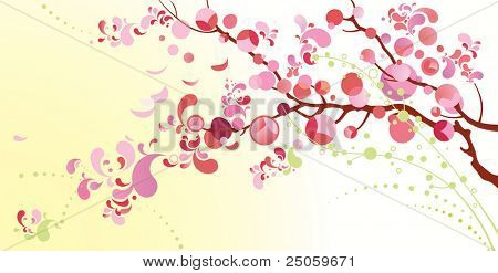 Spring background from petals blossoming cherry