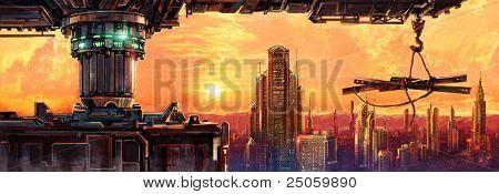 Fantastic city of the future
