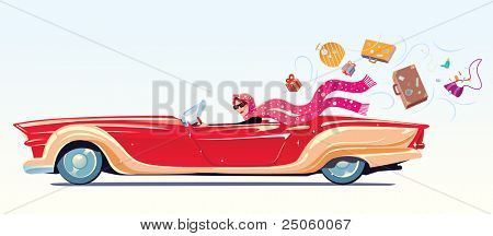 Girl drives the cabriolet on the sea shore.