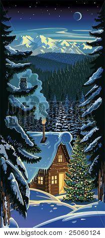 Paisagem da floresta de Inverno, com uma cabana e tre de Natal