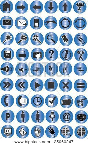 54 blue buttons with icons for website