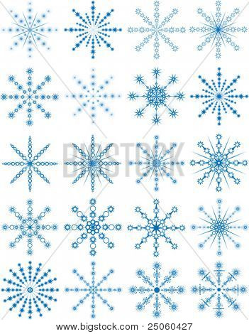 Set of 20 blue snowflakes, vector illustration