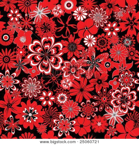 Seamless pattern with red and black flowers