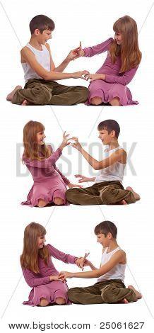 spielerisch Schwester und Bruder