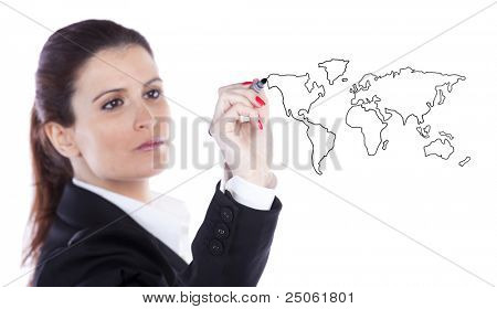 businesswoman drawing the world map in a whiteboard (selective focus)