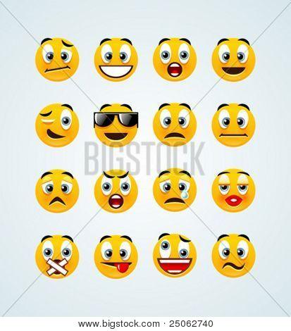 eine Reihe von 16 hoch detaillierte orange emotionalen smileys