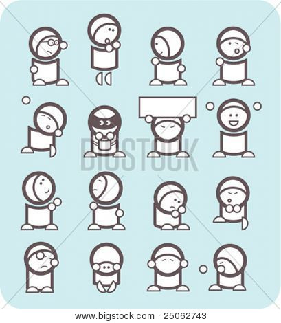 set of 16 simple black and white graphical emoticons