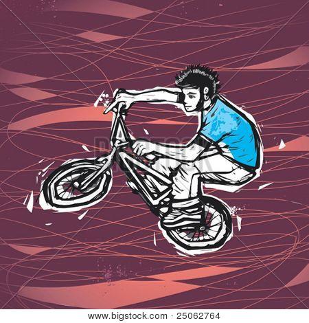 desenho de um homem andando de BMX vetorial