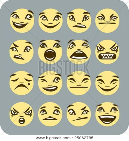 a set of 16 emotive smilies