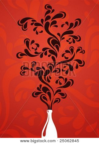 vector drawing of stylized floral tree in a bottle