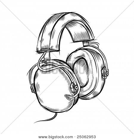 Hand drawn headphones. Vector illustration.