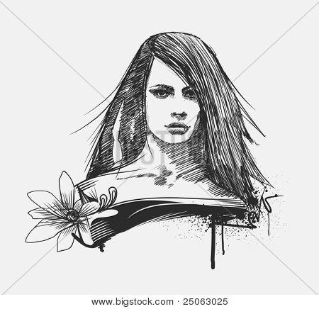 Retrato de la modelo de glamour. Ilustración de vector dibujado a mano.