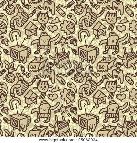 Seamless doodle pattern. Vector illustration.